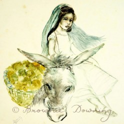 Original painting - Mexican girl on donkey