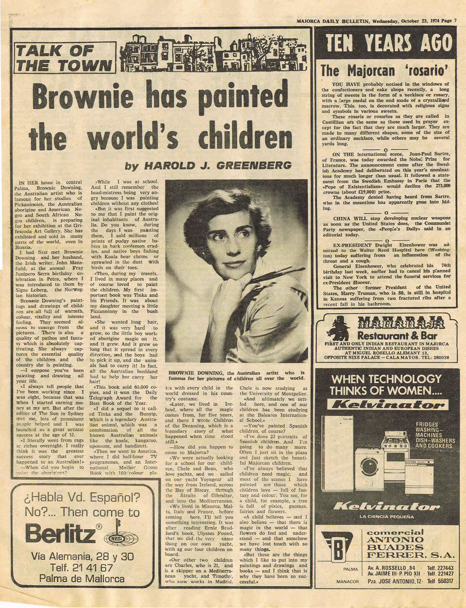 This article about Brownie appeared in the Majorca Daily Bulletin in 1974