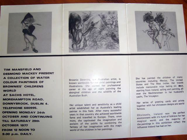 The catalogue of Brownie's Dublin Exhibition in 1977