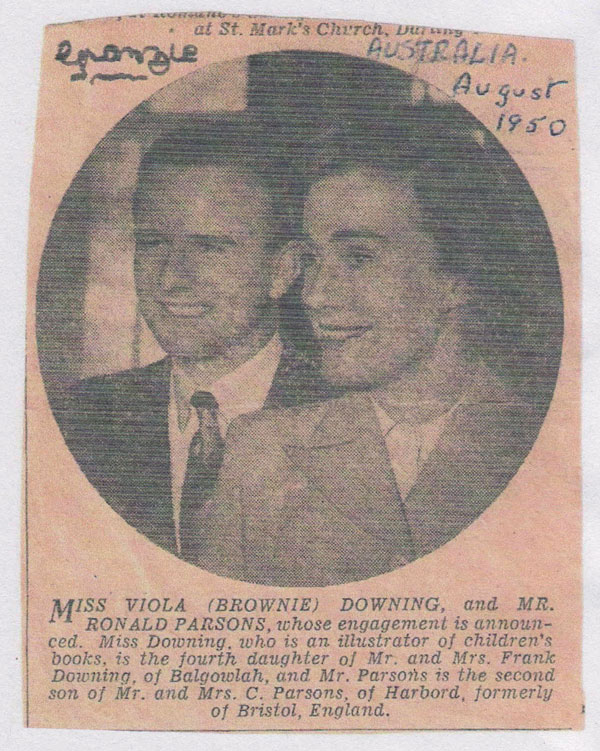 The announcement of Brownie's engagement to Mr Ronald Parsons