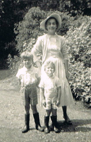 Brownie Downing with her children, Charles and Tim